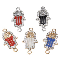 Hamsa Zinc Alloy Connector, plated, enamel & with rhinestone & 1/1 loop, more colors for choice, lead & cadmium free, 27.50x16.50x3mm, Hole:Approx 2mm, 10PCs/Bag, Sold By Bag