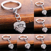 Zinc Alloy Key Chain, Heart, platinum color plated, different designs for choice & with letter pattern & with rhinestone, nickel, lead & cadmium free, 20mm, Sold By Strand
