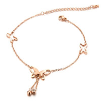 Stainless Steel Anklet, rose gold color plated, oval chain & for woman, 21.5mm, Sold Per Approx 8.5 Inch Strand