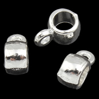 Zinc Alloy Jewelry Bail Drum silver color plated lead   cadmium free 4x9x6mm Hole:Approx 1mm 4mm 100G/Bag