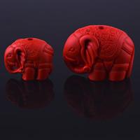 Zawieszki Cinnabar, Cynober, Słoń, Rzeźbione, różnej wielkości do wyboru, otwór:około 3mm, sprzedane przez PC