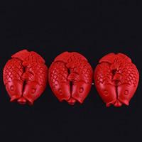 Киноварь бусы, Двойной рыбы, резной, 25x22x9mm, отверстие:Приблизительно 3mm, 10ПК/сумка, продается сумка