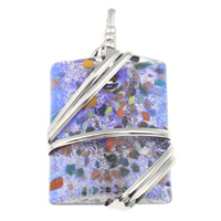 Silver Foil Lampwork Pendants, with Zinc Alloy, Rectangle, handmade, gold sand, 35x66x14mm, Hole:Approx 8x9mm, Sold By PC