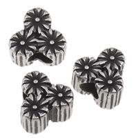 316 Roestvrij staal European Kraal, Bloem, zonder troll & zwart maken, 12x11.50x8mm, Gat:Ca 5mm, Verkocht door PC