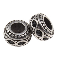316 Stainless Steel European Bead, Rondelle, without troll & with rhinestone & blacken, 10x6mm, Hole:Approx 5mm, Sold By PC