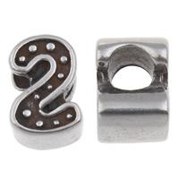 316 Stainless Steel European Helmi, Numero 2, ilman peikko & mustata, 7x11x7.50mm, Reikä:N. 4.5mm, Myymät PC
