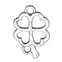 Zamak Clover Hanger, Zinc Alloy, Four Leaf Clover, antiek zilver plated, hol, nikkel, lood en cadmium vrij, 15x23x2mm, Gat:Ca 2mm, 1000pC's/Lot, Verkocht door Lot