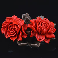Киноварь коннектор, Форма цветка, резной, 1/1 петля, 40x15mm, отверстие:Приблизительно 1-2mm, 5ПК/сумка, продается сумка