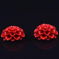 Киноварь коннектор, Форма цветка, резной, 1/1 петля, 17x32mm, отверстие:Приблизительно 1-2mm, 5ПК/сумка, продается сумка
