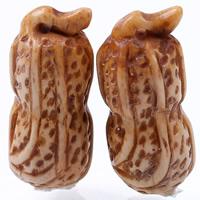 Естественный костяная подвеска, Кости вола, арахис, натуральный, Коричневый, 34x14mm, отверстие:Приблизительно 1-2mm, продается PC