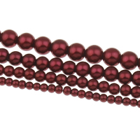 Glass Pearl Beads, Round, different size for choice, claret, Hole:Approx 1mm, Length:Approx 31.5 Inch, Sold By Bag