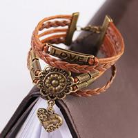 Комбинированный браслет, цинковый сплав, сердце & любовь, с Искусственная кожа, Покрытие под бронзу старую, браслет-оберег & Женский & 5-стренги, не содержит свинец и кадмий, 17.5cm, длина:Приблизительно 6.8 дюймовый, Приблизительно 3пряди/сумка, продается сумка
