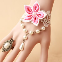 Lace Jewelry Set finger ring   bracelet with Satin Ribbon   Glass Pearl   Zinc Alloy with 2.7lnch extender chain plated for woman nickel lead   cadmium free US Ring Size:6 Length:Approx 5.5 Inch