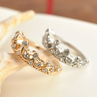 Zinc Alloy Finger Ring, Crown, plated, different size for choice & with rhinestone, more colors for choice, lead & cadmium free, 16-19mm, 3PCs/Bag, Sold By Bag
