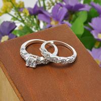 Пара кольца перста, цинковый сплав, Платиновое покрытие платиновым цвет, разный размер для выбора & инкрустированное микро кубического циркония & со стразами, не содержит свинец и кадмий, 16-19mm, 3Пары/сумка, продается сумка
