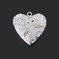 Brass Locket Pendants Heart plated hollow lead   cadmium free 26x25mm Hole:Approx 1-2mm 20PCs/Bag