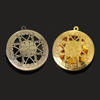 Brass Locket Pendants Flat Round plated hollow lead   cadmium free 32mm Hole:Approx 1-2mm 20PCs/Bag