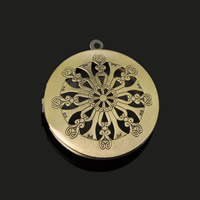 Brass Locket Pendants Flat Round antique bronze color plated hollow lead   cadmium free 32mm Hole:Approx 1-2mm 20PCs/Bag