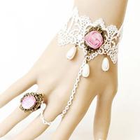 Свадебный браслет кольцо, Кружево, с Сатиновая лента & Стеклянный жемчуг & Канифольные кристаллы & цинковый сплав, с 2.7lnch наполнитель цепи, Другое покрытие, Для Bridal & регулируемый, не содержит никель, свинец, размер:6, Продан через Приблизительно 5.1 дюймовый Strand