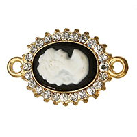 Resin Zinc Alloy Connector, with Resin, Flat Oval, gold color plated, lady cameo & with rhinestone & 1/1 loop, nickel, lead & cadmium free, 22.50x17x5mm, Hole:Approx 1.3mm, 100PCs/Lot, Sold By Lot