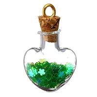 Szkło Globe wisiorek, ze kaucja stopu cynku & drewno korek & Cekinów z tworzyw sztucznych, Serce, Platerowane w kolorze złota, zielony, 22x32x10mm, otwór:około 4mm, 100komputery/wiele, sprzedane przez wiele