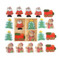 Рождественские Кабошоны, деревянный, крашеный & липкие & Рождественские украшения & разнообразный, 90x90mm, 3Ящики/Лот, 20ПК/Box, продается Лот