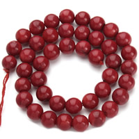 Natural Coral Beads Round red Hole:Approx 1mm Sold Per Approx 15.5 Inch Strand