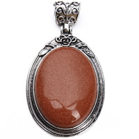 Natural Goldstone Pendants, Zinc Alloy, with Goldstone, Flat Oval, antique silver color plated, lead & cadmium free, 38x67mm, Hole:Approx 5mm, Sold By PC