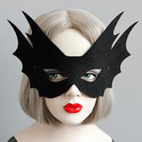 Fashion Party Mask, Войлок, с Сатиновая лента, Хэллоуин ювелирные изделия, черный, 151mm, 20ПК/Лот, продается Лот