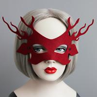 Fashion Party Mask, Войлок, с Сатиновая лента, Рождественские украшения, красный, 56mm, 20ПК/Лот, продается Лот
