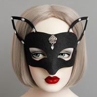 Fashion Party Mask, Войлок, с Сатиновая лента & канифоль & цинковый сплав, плакированный цветом под старое серебро, Хэллоуин ювелирные изделия & граненый, черный, не содержит никель, свинец, 64mm, 20ПК/Лот, продается Лот