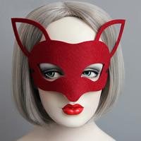 Fashion Party Mask, Войлок, с Сатиновая лента, Хэллоуин ювелирные изделия, красный, 66mm, 30ПК/Лот, продается Лот