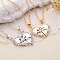 Key Chain, Zinc Alloy, with 5cm extender chain, Heart, plated, oval chain & with letter pattern & for woman & enamel & with rhinestone, more colors for choice, lead & cadmium free, 33x33mm, Length:Approx 15.5 Inch, Sold By Pair
