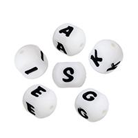 Силиконовые шарики, Силикон, Одобрение FDA & различные модели для выбора & с письмо узором & четырехсторонний, 16x12x12mm, отверстие:Приблизительно 2.4mm, 10ПК/Лот, продается Лот