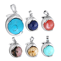 Gemstone Pendants Jewelry with Brass Dolphin platinum color plated natural   different materials for choice nickel lead   cadmium free 19x27x16mm Hole:Approx 5x7mm