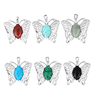Gemstone Pendants Jewelry with Brass Butterfly platinum color plated natural   different materials for choice   hollow nickel lead   cadmium free 44x42x7mm Hole:Approx 5x7mm