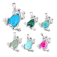 Gemstone Pendants Jewelry with Brass Frog platinum color plated natural   different materials for choice nickel lead   cadmium free 33x32x8mm Hole:Approx 5x6.5mm