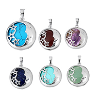 Gemstone Pendants Jewelry with Brass Flat Round platinum color plated natural   different materials for choice   with star pattern nickel lead   cadmium free 23x27x8mm Hole:Approx 5x7mm