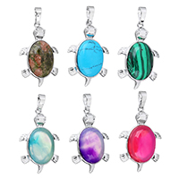 Gemstone Pendants Jewelry with Brass Turtle platinum color plated natural   different materials for choice nickel lead   cadmium free 22.50x34x7mm Hole:Approx 5x6.7mm