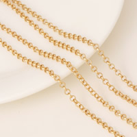 Brass Valentino Chain 24K gold plated rolo chain nickel lead   cadmium free 3x0.5mm 10Strands/Lot 1m/Strand