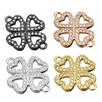 Cubic Zirconia Micro Pave Brass Connector Four Leaf Clover plated micro pave cubic zirconia   1/1 loop nickel lead   cadmium free 15.50x20.50x2mm Hole:Approx 1.5mm 20PCs/Lot