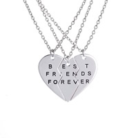 Zinc Alloy Puzzle Friendship Necklace, Heart, platinum color plated, Unisex & oval chain & with letter pattern & enamel, lead & cadmium free, 46x36mm, Length:Approx 19.5 Inch, 3Strands/Set, Sold By Set