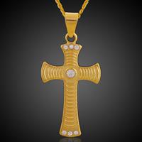 Krzyż wisiorki mosiądz, Pozłacane 18K złotem, z kamieniem, bez zawartości ołowiu i kadmu, 22.5x47mm, otwór:około 3-5mm, 6komputery/torba, sprzedane przez torba