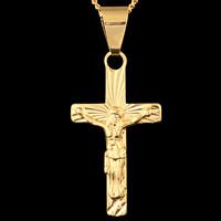 Krzyż wisiorki mosiądz, Krucyfiks krzyż, Pozłacane 18K złotem, Chrześcijanin Biżuteria, bez zawartości ołowiu i kadmu, 17x38mm, otwór:około 3-5mm, 6komputery/torba, sprzedane przez torba