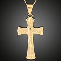 Krzyż wisiorki mosiądz, Krucyfiks krzyż, Pozłacane 18K złotem, Chrześcijanin Biżuteria & z listu wzór, bez zawartości ołowiu i kadmu, 33x48mm, otwór:około 3-5mm, 6komputery/torba, sprzedane przez torba