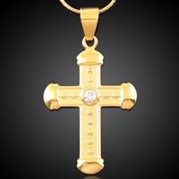 Krzyż wisiorki mosiądz, Pozłacane 18K złotem, z kamieniem, bez zawartości ołowiu i kadmu, 26x45mm, otwór:około 3-5mm, 6komputery/torba, sprzedane przez torba