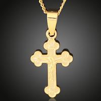 Krzyż wisiorki mosiądz, Krucyfiks krzyż, Pozłacane 18K złotem, Chrześcijanin Biżuteria, bez zawartości ołowiu i kadmu, 14x27mm, otwór:około 3-5mm, 6komputery/torba, sprzedane przez torba