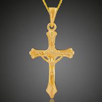 Krzyż wisiorki mosiądz, Krucyfiks krzyż, Pozłacane 18K złotem, Chrześcijanin Biżuteria, bez zawartości ołowiu i kadmu, 21x39.8mm, otwór:około 3-5mm, 6komputery/torba, sprzedane przez torba