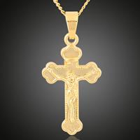 Krzyż wisiorki mosiądz, Krucyfiks krzyż, Pozłacane 18K złotem, Chrześcijanin Biżuteria, bez zawartości ołowiu i kadmu, 17x36mm, otwór:około 3-5mm, 6komputery/torba, sprzedane przez torba