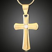 Krzyż wisiorki mosiądz, Pozłacane 18K złotem, z kamieniem, bez zawartości ołowiu i kadmu, 21x37mm, otwór:około 3-5mm, 6komputery/torba, sprzedane przez torba